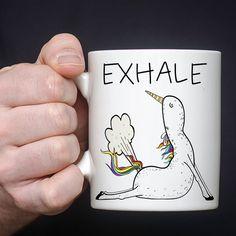 Exhale Mug Yoga Mug Funny Yoga Mug Funny Unicorn by MugableMugs