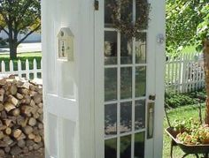 Outdoor Project Ideas Garden shed made from old doors. Looks like a cute phone booth! - Almost-Free Outdoor Updates on HGTVGarden shed made from old doors. Looks like a cute phone booth! - Almost-Free Outdoor Updates on HGTV Salvaged Doors, Old Doors, Repurposed Doors, Outdoor Projects, Garden Projects, Diy Projects, Backyard Projects, Outdoor Spaces, Outdoor Living