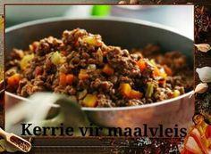 REGTE EGTE BASAAR KERRIE EN RYS 2 kg Maalvleis 2 na 3 groot aartappels in blokkies gesny (pre-cook vinnig in die mikrogolf tot amper sag) 2 groot uie (gekap) gevriesde gemengde groente (of 1 . Mince Dishes, Curry Dishes, Beef Dishes, Mince Recipes, Curry Recipes, Cooking Recipes, Salad Recipes, South African Recipes, Indian Food Recipes