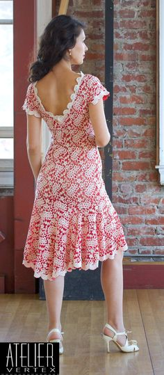 Vintage inspired red and ivory lace dress. Tango dress.