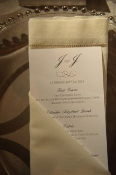 Washington DC Wedding Menu Card Ideas