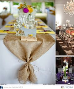 I love the idea of using the rectangular tables. You could use inexpensive burlap as a table runner and do some tealights in between simple floral arrangements. Rustic/chic