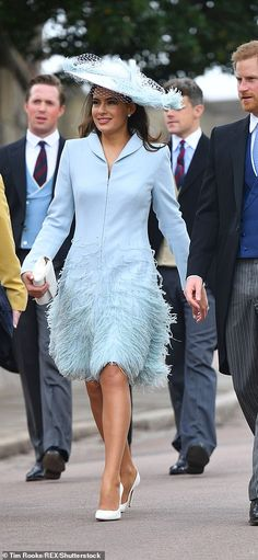 Bride's sister-in-law Sophie Winkleman in an ice-blue Catherine Walker coat dress. I love the frivolous feathers and saucer hat, writes Liz Jones. The only off-key note: her 'Towie bronze' bare legs Sophie Winkleman, Lord Frederick Windsor, Prince Michael Of Kent, Bronze Wedding, Catherine Walker, Fringe Fashion, First Wedding Anniversary, Pippa Middleton, Royal Weddings