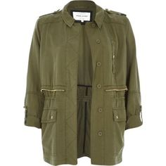 Great Khaki utility military casual jacket from River Island...perfect for Spring!