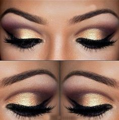 gold and purple stunning eye makeup. maybe with ivory metallic instead of gold?