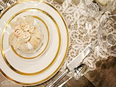 White with Gold Rim Vintage China from Vintage Ambiance