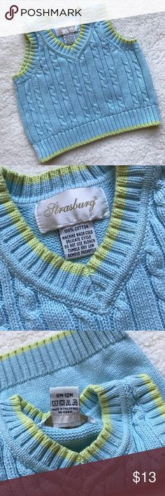 Strasburg Baby Spring Blue Green Sweater Vest ✨ Reasonable offers welcome ✨  Strasburg Baby Spring Blue Green Sweater Vest 6-12M  Size 6-12M although I do not think it will fit 12M unless they are small for their age!   Very Good condition!  Bundle & Save!! Strasburg Shirts & Tops Sweaters