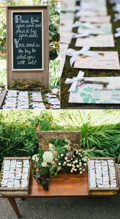 Escort Card Display - 'your card is the key to what you will eat' - See the wedding here: http://www.stylemepretty.com/little-black-book-blog/2014/05/21/romantic-beltane-ranch-wedding/ Photography: Jerry Yoon - http://blogjerry.com