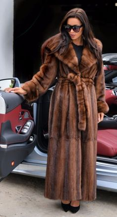 BROWN MINK FUR LONG TRENCH COAT HOOD CLASS OF SABLE CHINCHILLA FOX JACKET VEST