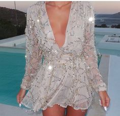 new year's eve bedazzled dope romper style sparkly dress sparkles sequin dress Sequin shorts open back prom dress open front gold gold sequins silver dress fashion Party Dresses For Women, Sexy Dresses, Beautiful Dresses, Short Dresses, Sparkly Dresses, Loose Dresses, Mini Dresses, Dress Outfits, Holiday Dresses