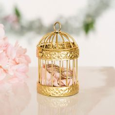 Adorable Gold Covered Mini Classic Round Decorative Birdcages - #wedding #favors #parties