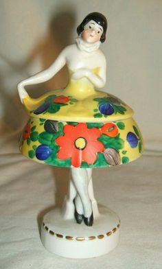 Art Deco RARE German Lady Powder Box Jar | eBay