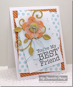 Complimentary Greetings, Darling Dots, Diagonal Stripes Background, Linen Background, Leaf-Filled Flourish Die-namics, Pretty Posies Die-namics - Barbara Anders #mftstamps