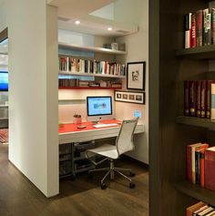 Built in Nook for Small Minimal home Office with Book Shelf