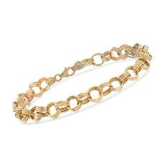 Ross-Simons - Italian 14kt Yellow Gold Textured and Polished Circle-Link Bracelet - #824456