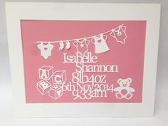 Hand Cut and Mounted Unframed Personalised New от PapierBouton