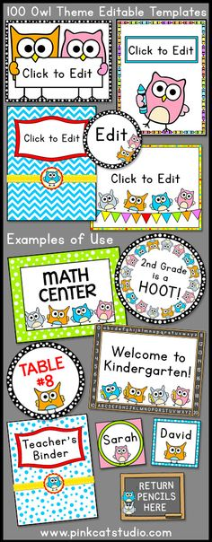 Owl Theme Labels and Templates: make supply labels, posters, bin labels etc Owl Theme Classroom, Classroom Jobs, Classroom Design, Preschool Classroom, Future Classroom, Classroom Management, Classroom Setup, Kindergarten Activities, Classroom Teacher