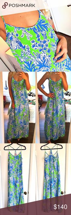 LILLY PULITZER Bright blue and green Maxi Dress  In a very good condition except it needs a good wash since it's a little dirty at the bottom as shown on the last picture. Shell 100% silk, lining 100% polyester. Measures approximately top to bottom 48.5 inches. Lilly Pulitzer Dresses Maxi