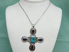 Vintage Sterling Silver Turquoise Sugilite Cross by COBAYLEY, $125.00