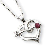 Sterling Silver Heart with a Ruby Arrow Necklace - 18 Inch - Spring Ring - JewelryWeb JewelryWeb. $48.50