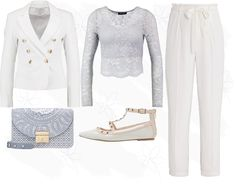 http://nouw.com/bellss    #simple #spring #white #pants #tied #trousers #outfit #blue #lace #studded #sandals #furla #bag