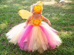 Pink Yellow Orange Coral Tutu Dress Flower Headband-Baby Girl Clothes-Halloween Costume-Outfit-Preemie-Newborn-Infant-Child-Birthday Cake on Etsy, $39.95