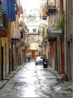 Cake Duchess: street scene from Licata, Province of Agrigento, Sicily