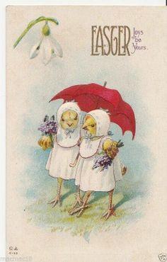 Vintage Postcard Dressed Easter Chicks Red Umbrella