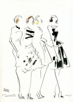 Fashion Sketch - fashion illustration, Christian Dior backstage // Miyuki Ohashi