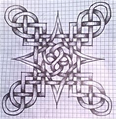 My first successful attempt at a Celtic Knot. Celtic Knot First Graph Paper Drawings, Graph Paper Art, Celtic Symbols, Celtic Art, Celtic Mandala, Celtic Drawings, Celtic Knots Drawing, Celtic Knot Tutorial, Celtic Quilt