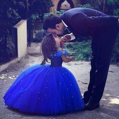 Koningsblauw Flower Girl Trouwjurken Cinderella Meisjes Princess Kinderen Party Baljurk Eerste Communie Jurk 0-12Y