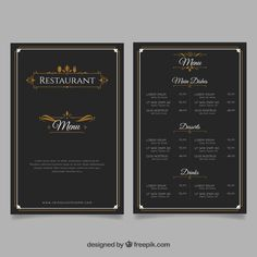 Elegant restaurant menu template Free Ve. Burger Restaurant, Resturant Menu, Restaurant Poster, Food Menu Template, Restaurant Menu Template, Wedding Menu Template, Restaurant Menu Design, Cafe Menu Design, Menu Card Design