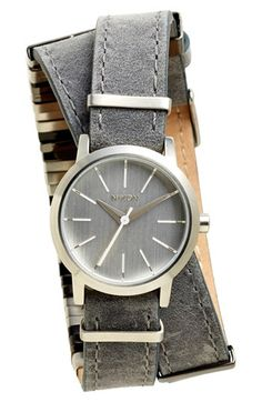 Nixon 'The Kenzi' Metal Detail Wrap Leather Strap Watch, 26mm available at #Nordstrom