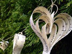 Paper Heart Music Garland-8 ft-Wedding Decor-Wedding Garland-Bunting-Book Garland-Bridal Shower-Paper Garland-Music Wedding-Valentines Decor