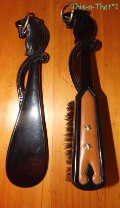 Vintage Black Plastic Lion Head Shoe Horn and Brush set #Unbranded #Casual
