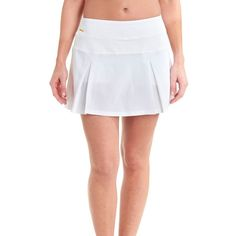 Women's Lole 'Justine' Tennis Skort ($80) ❤ liked on Polyvore featuring activewear, activewear skirts, white, white golf skirt, golf skirts, white skort, lolÃ« and pleated skort
