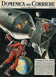 """On 18th March 1965, Soviet cosmonaut Alexey Leonov exits Voskhod 2 spacecraft for a 12-minute spacewalk."""