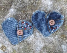 Earring Heart-Shaped Recycled Denim por daringmisslassiter