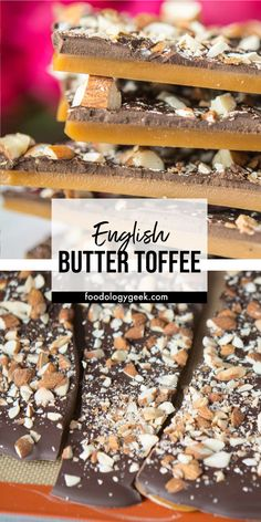 English Butter Toffee is gorgeous and delicious! With only a few simple ingredients my step-by-step guide will have you making perfect butter toffee. Homemade Toffee, Homemade Butter, Homemade Candies, Candy Recipes, Sweet Recipes, Dessert Recipes, Xmas Recipes, English Toffee Recipe, Best Butter Toffee Recipe