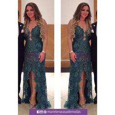 Elegante y guapa luce Evelyn Pogo con una de nuestras confecciones en tul bordado, con escote pronunciado...