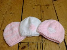 Premature Baby Hat: Pink and white diamond knitted beanie for tiny baby