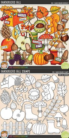 Fantabulous Fall digital scrapbook elements / cute autumn and fall clip art set! (Clipart and line art bundle). Hand-drawn doodles and illustrations for digital scrapbooking, crafting and teaching resources from Kate Hadfield Designs. Autumn Doodles, Fall Clip Art, Autumn Illustration, Bullet Journal Ideas Pages, Autumn Bullet Journal, Printable Crafts, Printables, Autumn Art, Autumn Activities