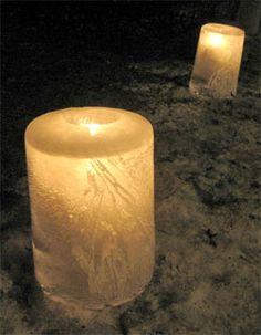ice luminaries made with a 5 gallon bucket.  light, ice, winter
