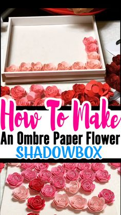Mothers Day Gifts Diy Discover How To Make An Ombre Paper Flower Shadow Box You learned How To Make Paper Rose now what to do with them. One of my favorite paper rose projects is the Ombre paper flower shadow box. Paper Flowers Craft, Giant Paper Flowers, Diy Flowers, Diy Paper Roses, Paper Flowers How To Make, Diy Flower Boxes, Flower Box Gift, Rolled Paper Flowers, Flower Paper