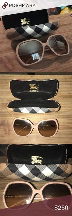BURBERRY Excellent Condition Nude & Rose Sunnies Excellent Condition BURBERRY sunglasses with classic plaid hard case. Nude/Tan color Retro Inspired Large Lense frames with Rose Gold metal accents in the classic Burberry plaid. Brownish granite lenses with serial number AY404190 on lense. Made in Italy. Style B4107. Size 60.16.135. These are stunning would keep but a little small on my face. Ships out same or next business day. Smoke free home & Five star seller! Great for any outfit or…