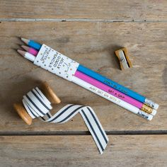 Tough Love Pencil Collection - Don't Be a Dick, Just Get on With it, Get a Grip - Pack of 3 Jolly Good Pencils - Fun Birthday Present