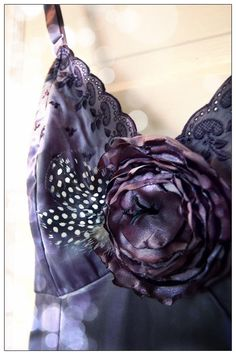 Hand Dyed Lingerie Vintage Slip and Floral Pin in by Mireio, $42.00