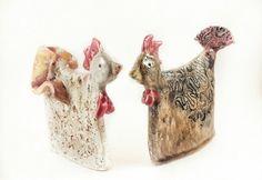 Ceramic sculpture. Ceramic chicken.