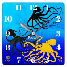 Octopodes On Ombre Blue - Wall Clock - blue gifts style giftidea diy cyo