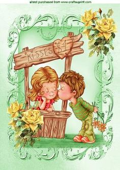 LITTLE BOY KISSING A LITTLE GIRL A4 on Craftsuprint - Add To Basket!